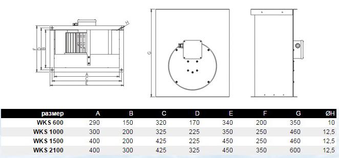 Габаритные размеры вентилятора для прямоугольных каналов Dospel WKS