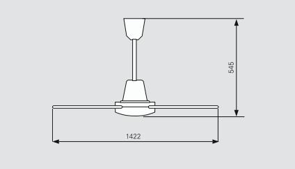 Габаритні розміри стельового вентилятора Frico