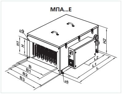Габаритные размеры приточной установки ВЕНТС МПА 1200 Е3 LCD