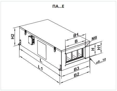 Габаритные размеры приточной установки ВЕНТС ПА 01 Е LCD