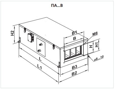 Габаритные размеры приточной установки ВЕНТС ПА 03 В4 LCD