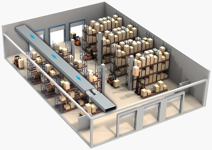 Пример установки вентилятора на складе
