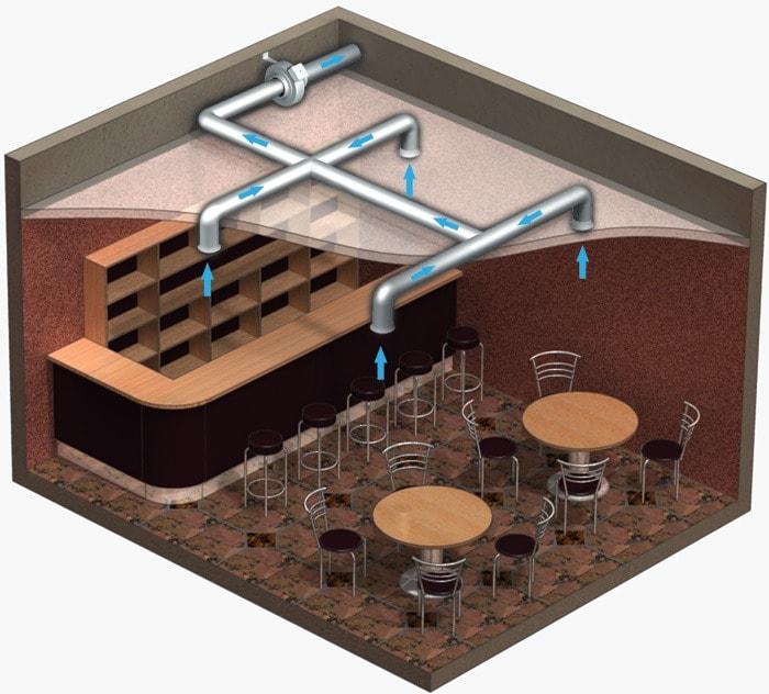 Вариант установки канального вентилятора ВЕНТС ВКМц 200 Б