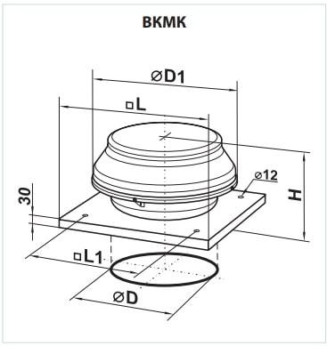 Габаритные размеры вентилятора ВЕНТС ВКМК 150