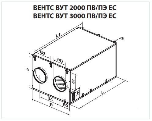 Габаритні розміри ВЕНТС ВУТ 2000 ПВ ЄС
