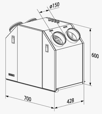 Габаритні розміри припливно-витяжної установки ВЕНТС ВУТ 350 У ЄС