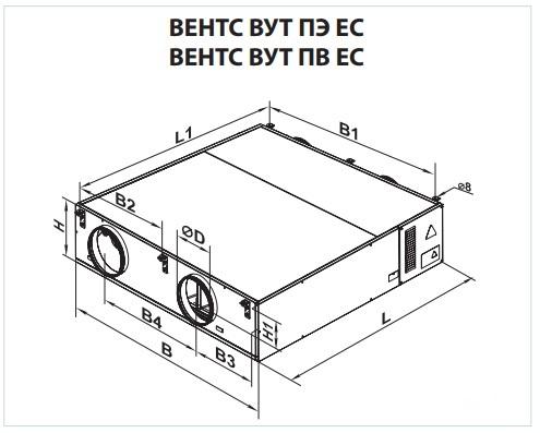 Габаритні розміри ВЕНТС ВУТ 1000 ПВ ЄС