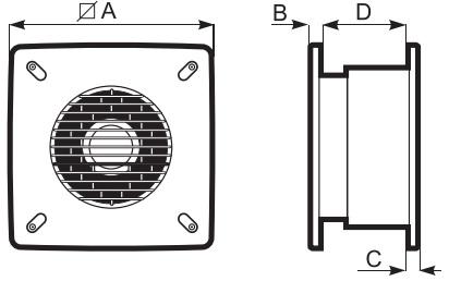 Габаритні розміри вентилятора Vortice Vario I