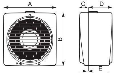 Габаритні розміри вентилятора Vortice Vario